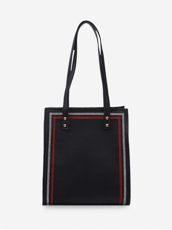women's Square Simple Solid Student Tote Bag - BLACK