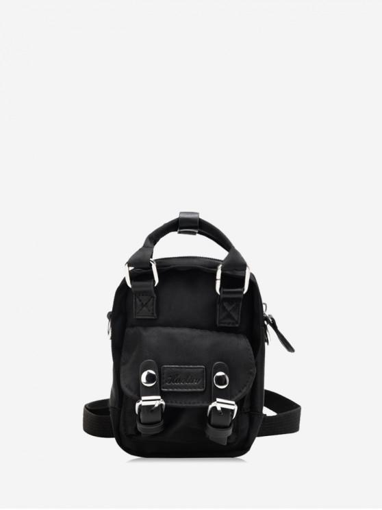 shop Solid Color Buckle Decorated Casual Backpack - BLACK