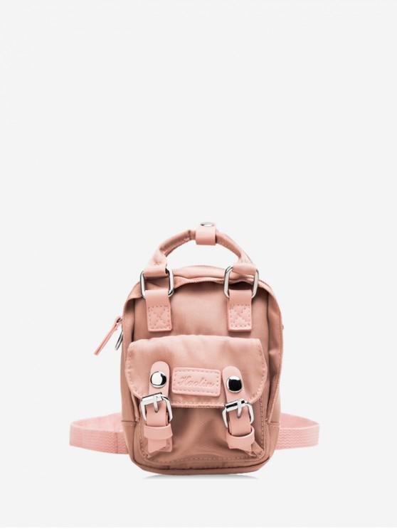 shops Solid Color Buckle Decorated Casual Backpack - PINK ROSE