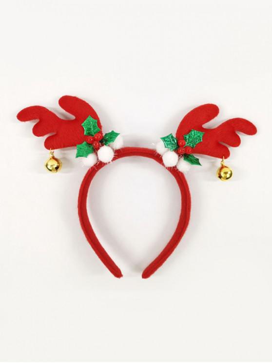聖誕麋鹿鹿角貝爾發帶 - 紅