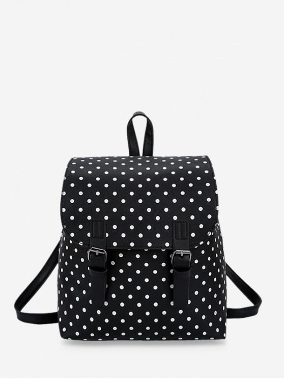 กระเป๋าเป้สะพายหลังลายจุดลำลอง - สีดำ