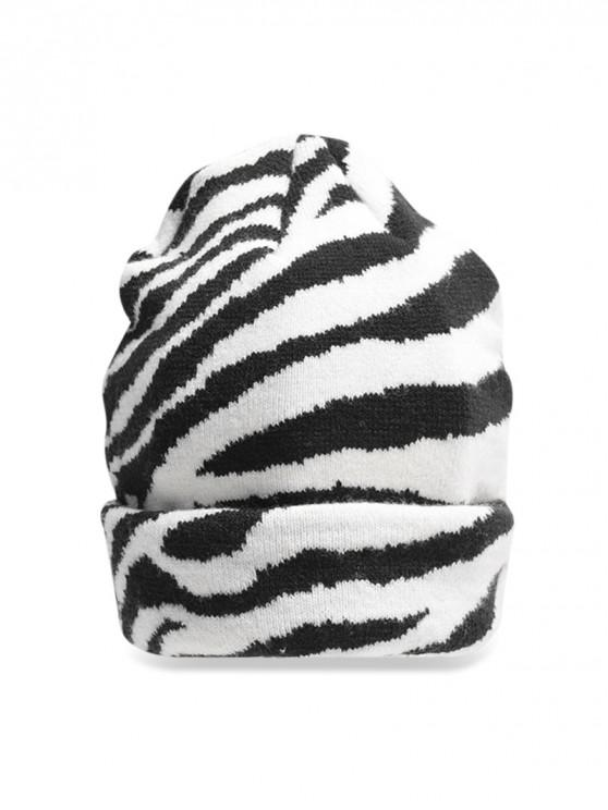 new Casual Striped Pattern Knitted Beanie - WHITE