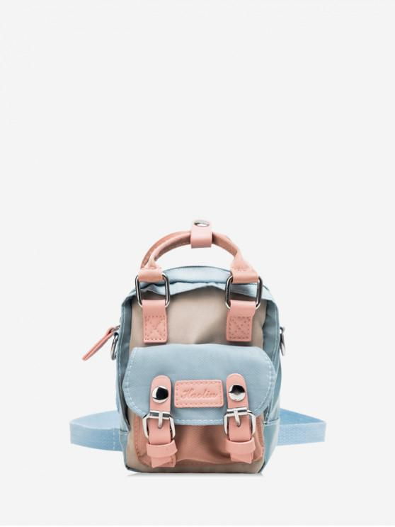 outfit Solid Color Buckle Decorated Casual Backpack - CRYSTAL BLUE