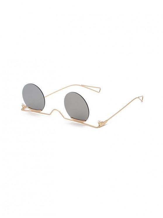 sale Metal Gradient Rimless Round Sunglasses - SILVER