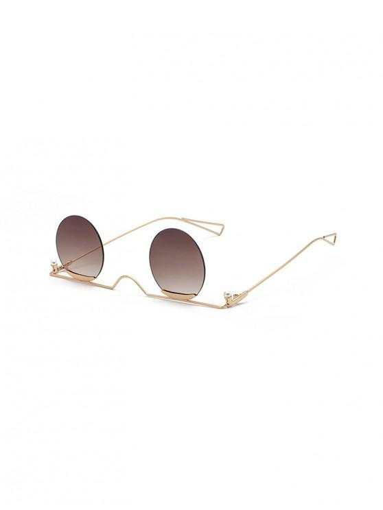 affordable Metal Gradient Rimless Round Sunglasses - COFFEE