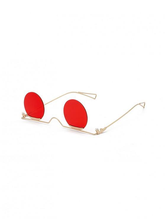 Gradiente de metal sin montura gafas de sol redondas - Rojo