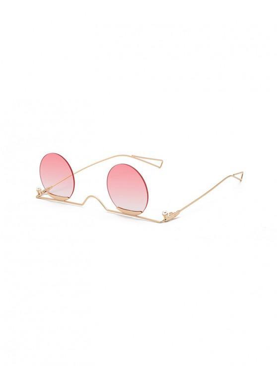 Gradiente de metal sin montura gafas de sol redondas - Rosado