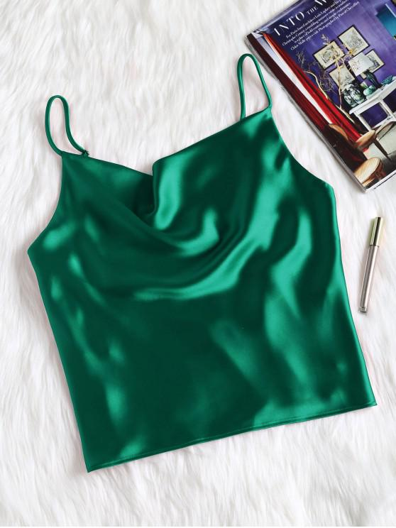 fancy Satin Oversized Cami Tank Top - GREEN M
