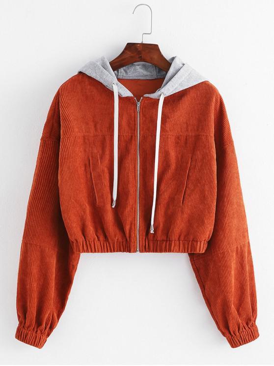 ZAFUL вельвет с капюшоном падения плеча Crop Jacket - Светло-коричневый S