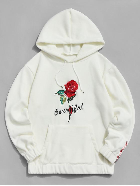fancy Rose Letter Embroidered Hoodie - WARM WHITE 2XL