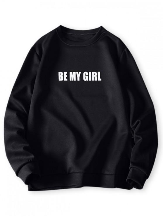 Se mi Carta impresión de la muchacha de punto elástico con capucha Hem - Negro 4XL