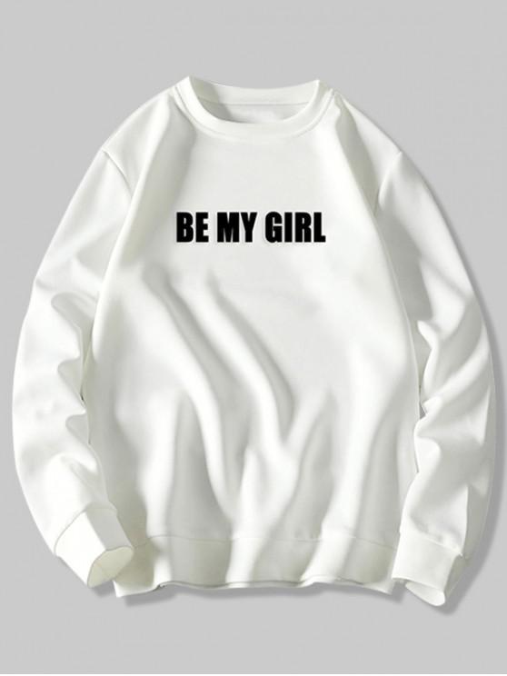 womens Be My Girl Letter Print Rib-knit Hem Sweatshirt - WHITE 4XL