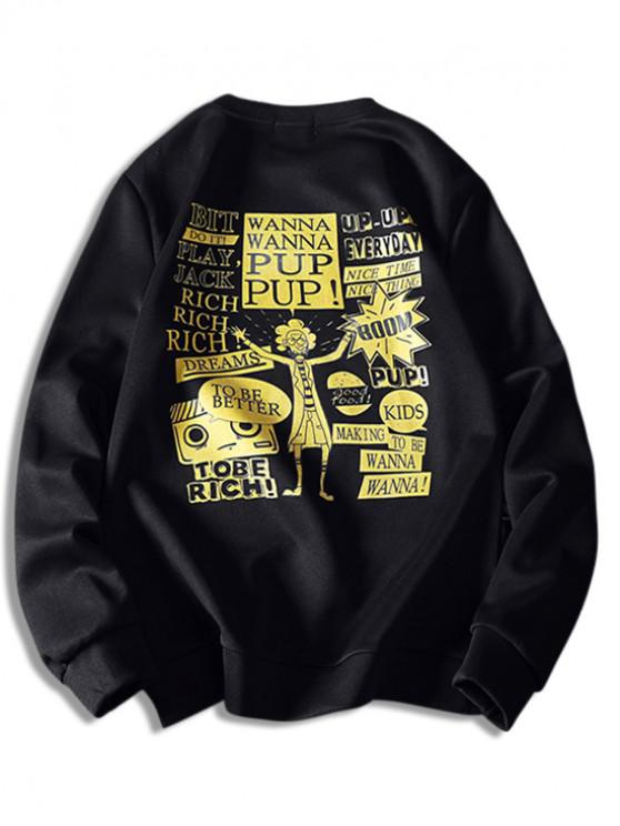 ladies Cartoon Character Letter Graphic Sweatshirt - BLACK XL