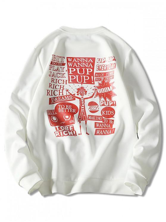 shop Cartoon Character Letter Graphic Sweatshirt - WHITE 3XL