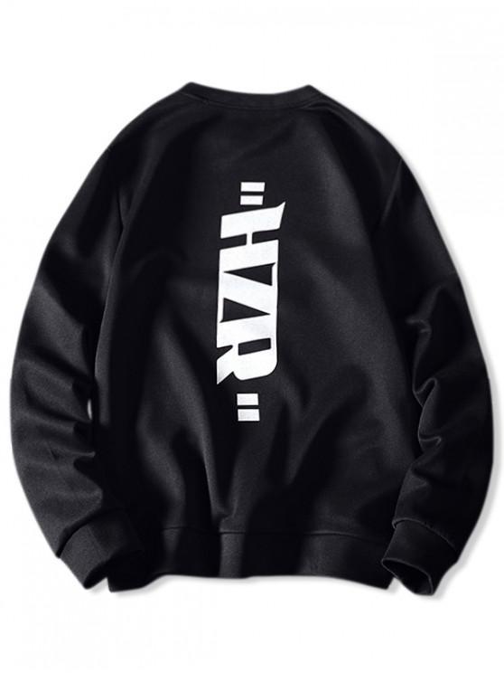 latest Round Neck Letter Graphic Print Sweatshirt - BLACK M