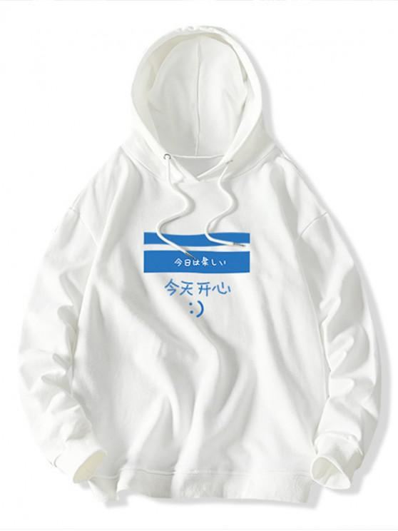 outfit Colorblock Geometric Letter Print Casual Hoodie - WHITE S