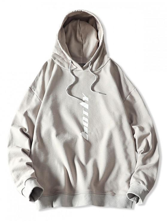 outfit Drawstring Letter Graphic Hoodie - PLATINUM XS
