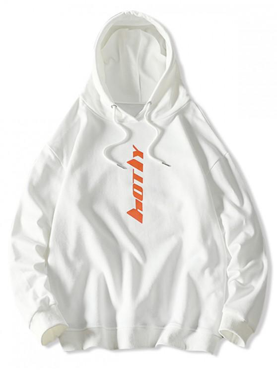 trendy Drawstring Letter Graphic Hoodie - WHITE XS
