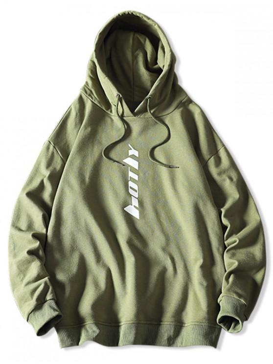 affordable Drawstring Letter Graphic Hoodie - SEA GREEN S