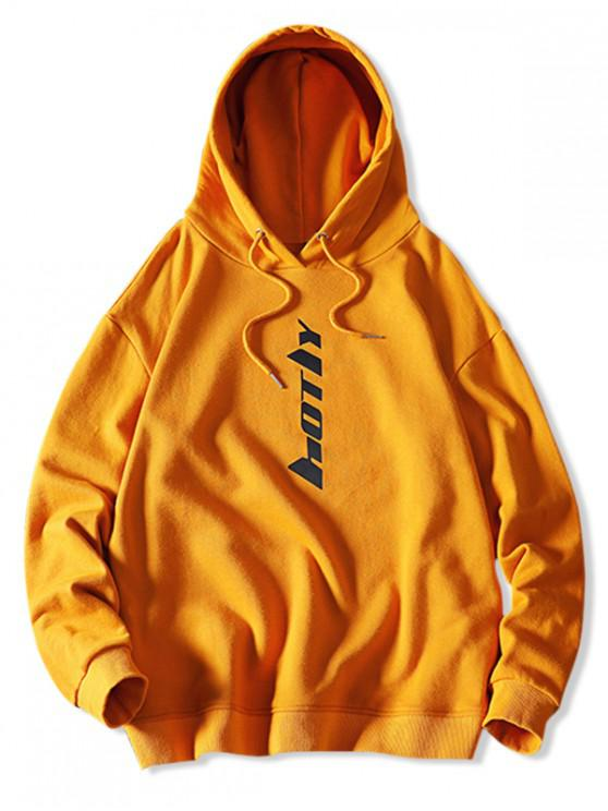 women's Drawstring Letter Graphic Hoodie - BRIGHT YELLOW XS