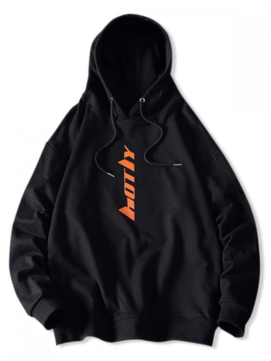 hot Drawstring Letter Graphic Hoodie - BLACK S