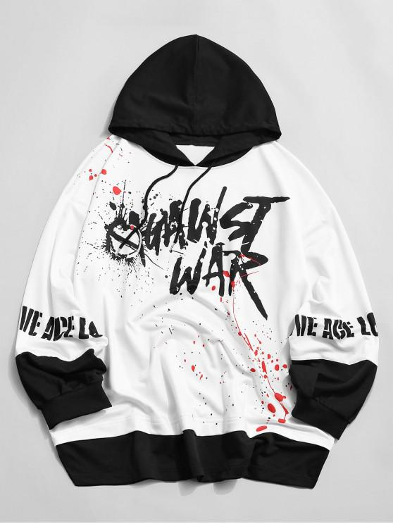 buy ZAFUL Letter Painting Splatter Faux Twinset Colorblock Hoodie - MULTI S
