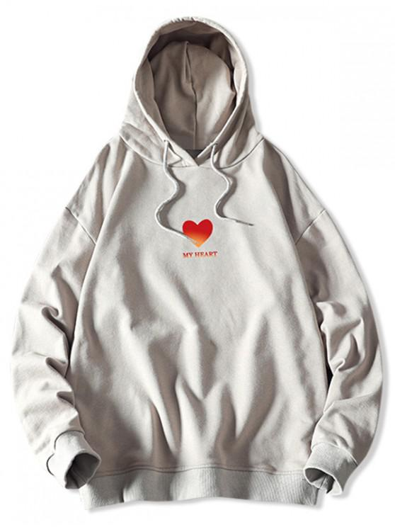 fashion My Heart Graphic Print Drawstring Hoodie - PLATINUM XL