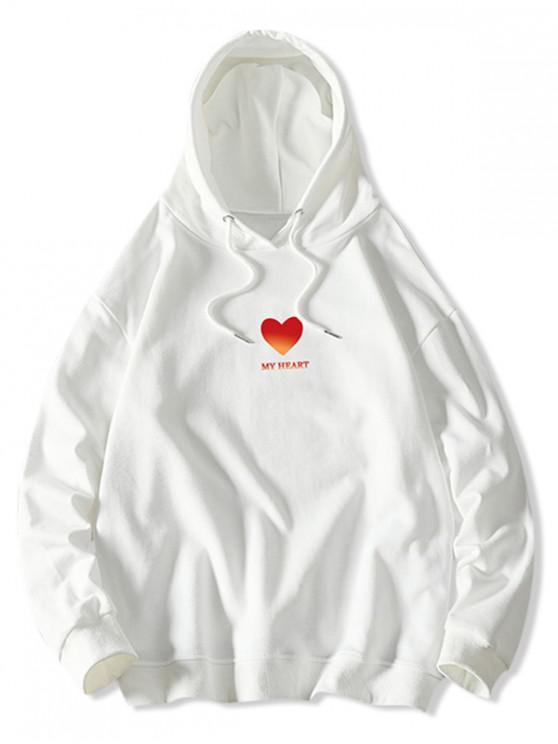 fancy My Heart Graphic Print Drawstring Hoodie - WHITE S