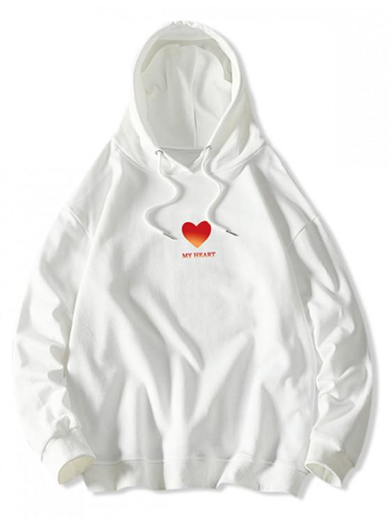 sale My Heart Graphic Print Drawstring Hoodie - WHITE L