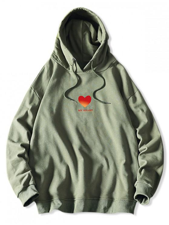 women My Heart Graphic Print Drawstring Hoodie - SEA GREEN M