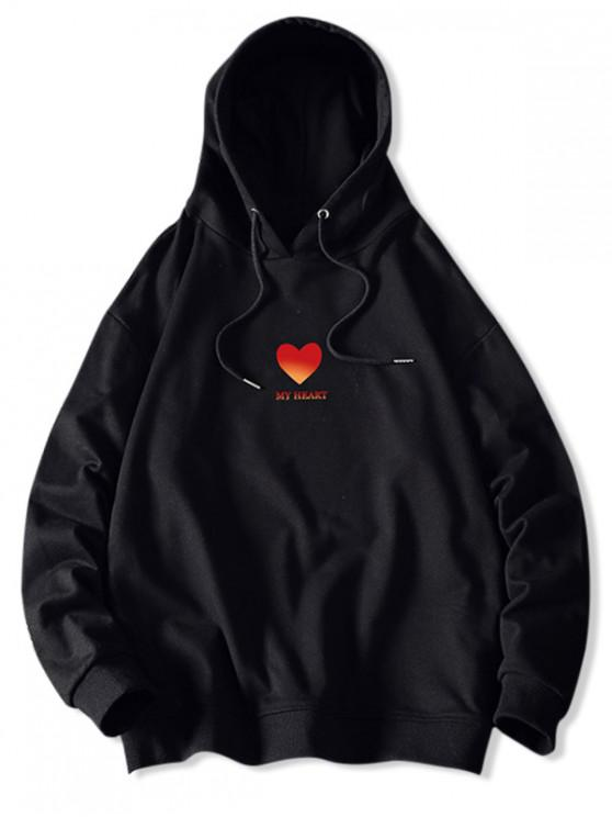 Mi corazón Estampado con capucha con cordón - Negro XS
