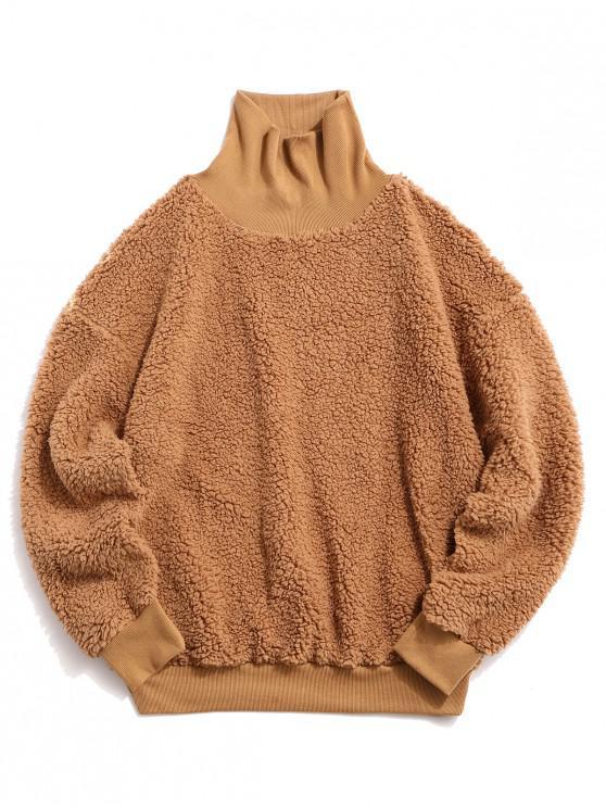 new ZAFUL Solid Faux Fur Fluffy Mock Neck Sweatshirt - LIGHT KHAKI M