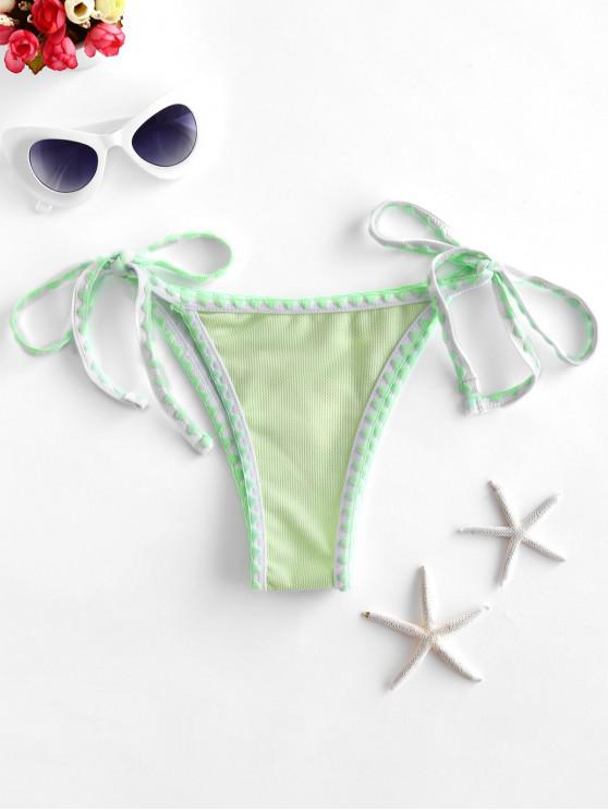women ZAFUL Textured Whip Stitch Tie Side Bikini Bottom - MINT GREEN S