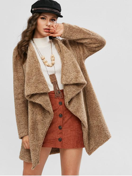 buy ZAFUL Open Front Waterfall Fluffy Tunic Coat - CAMEL BROWN S