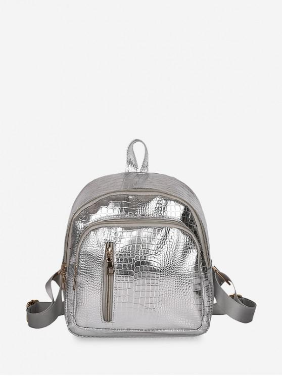 fancy Casual Simple Solid Soft Backpack - SILVER