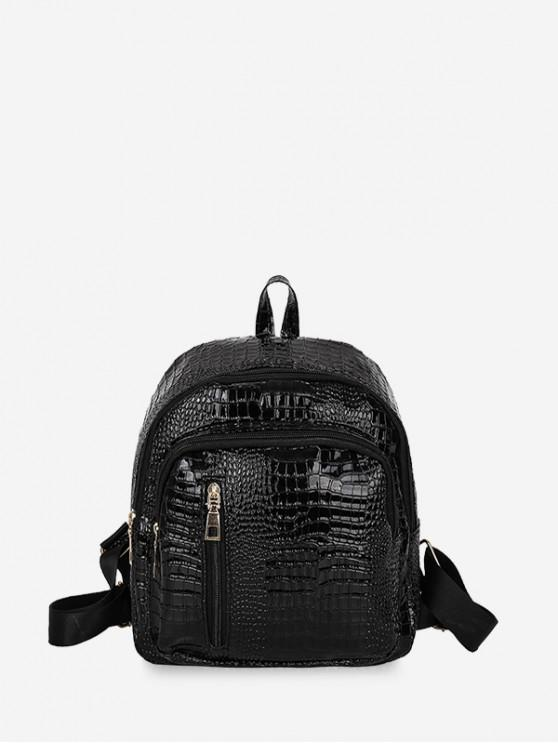 shops Casual Simple Solid Soft Backpack - BLACK