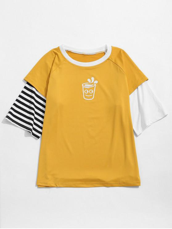 new Striped Cartoon Graphic Faux Twinset T-shirt - YELLOW XL