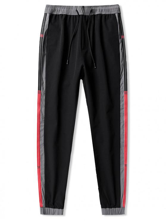 latest Colorblock Stripes Spliced Casual Jogger Pants - BLACK L