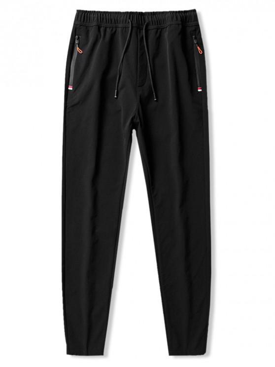 new Solid Elastic Long Slim Fit Drawstring Pants - BLACK S
