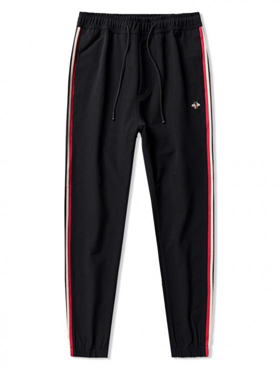 outfits Bee Embroidery Contrast Stripes Drawstring Jogger Pants - BLACK M