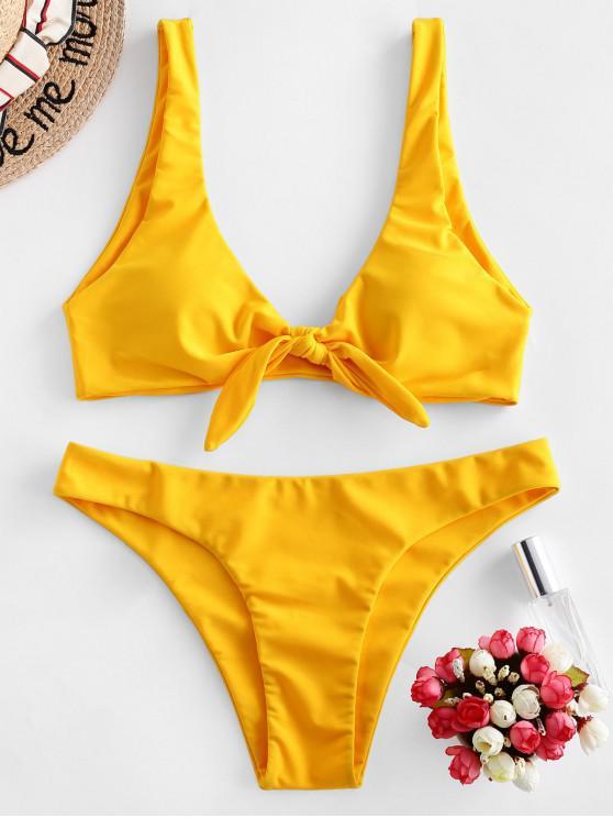 outfits ZAFUL Knotted Plunge Bikini Swimsuit - YELLOW L