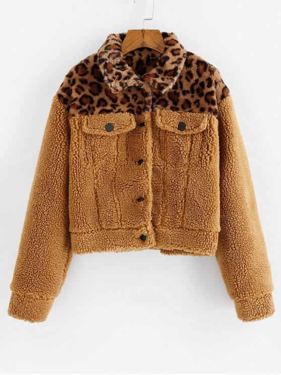 lady ZAFUL Faux Fur Leopard Print Fluffy Coat - LIGHT BROWN L