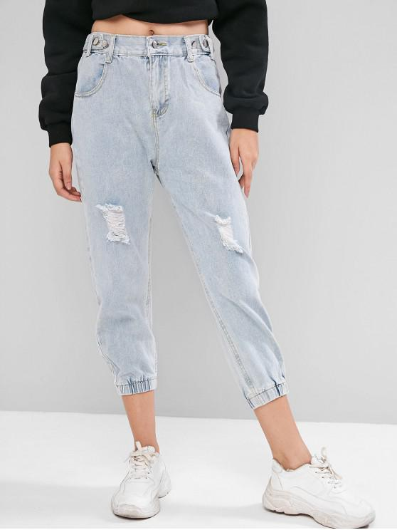 best Buttoned Tabs Distressed Mid Rise Jogger Jeans - JEANS BLUE M
