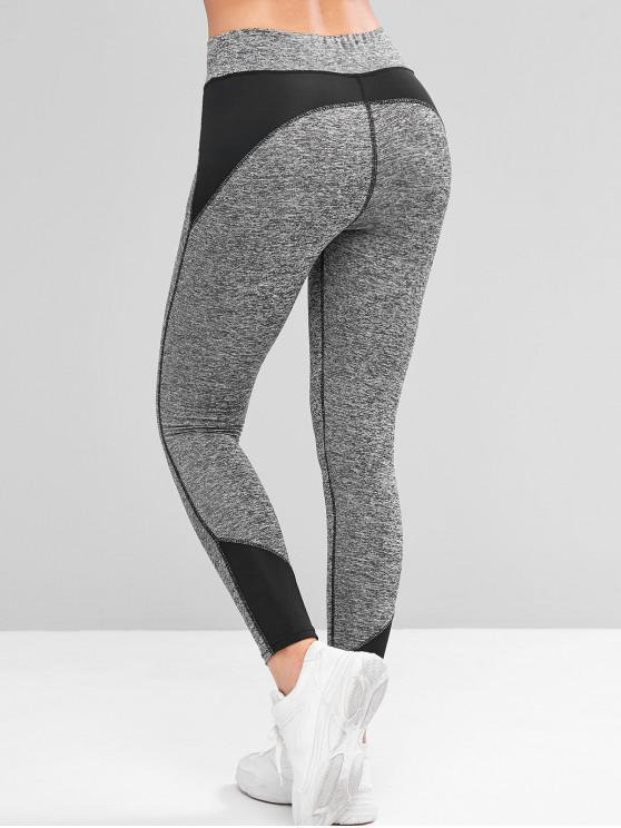 outfits Colorblock Space Dye Topstitching Sports Leggings - BLACK XL