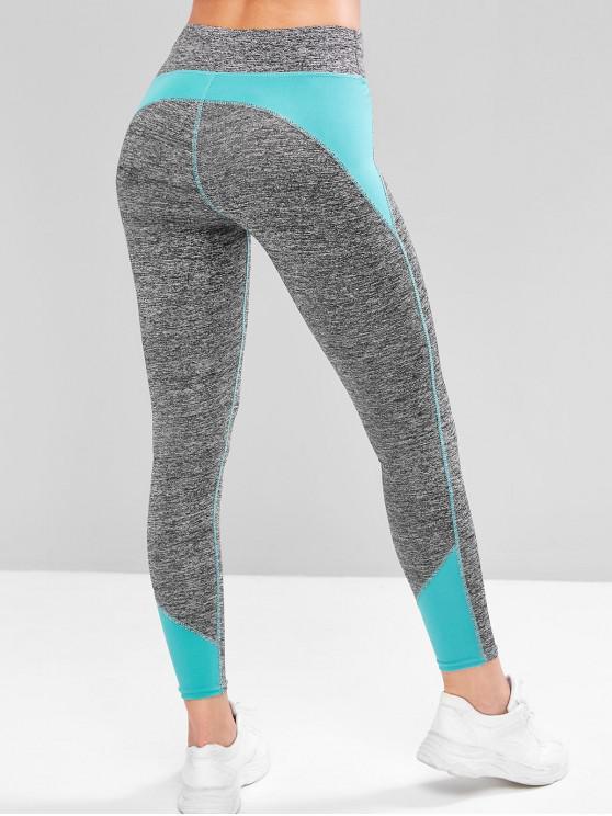 shop Colorblock Space Dye Topstitching Sports Leggings - BLUE S