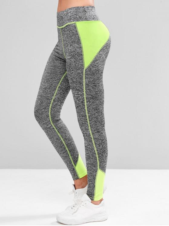 unique Colorblock Space Dye Topstitching Sports Leggings - YELLOW XL