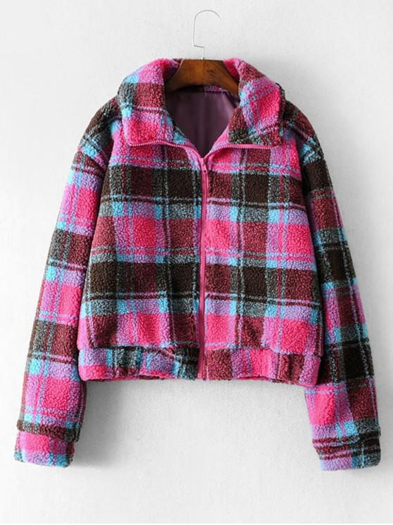 New Zip Front Seam Pockets Plaid Teddy Jacket   Rose Red M by Zaful