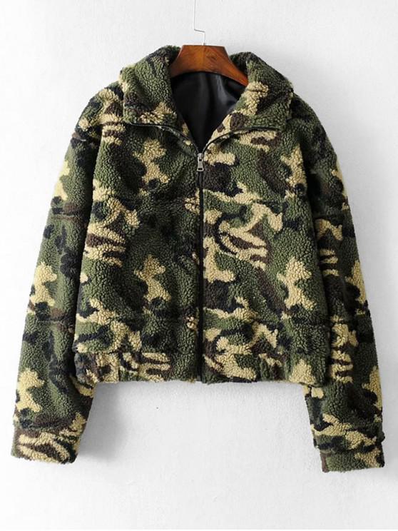 Молния впереди Шов Карманы Камуфляжный принт Куртка Тедди - Армейский зеленый S