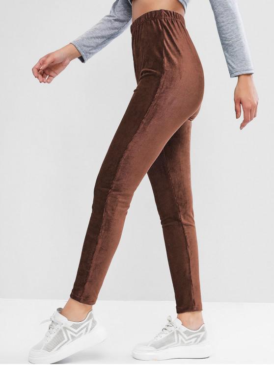 ladies ZAFUL Ribbed Velvet Pants - BROWN M