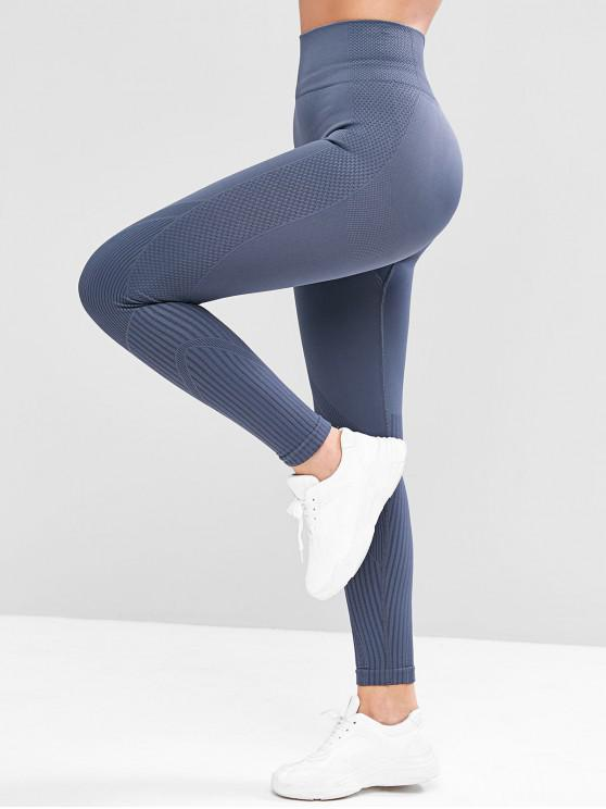 buy Wide Waistband Textured Knit High Rise Leggings - SLATE BLUE L